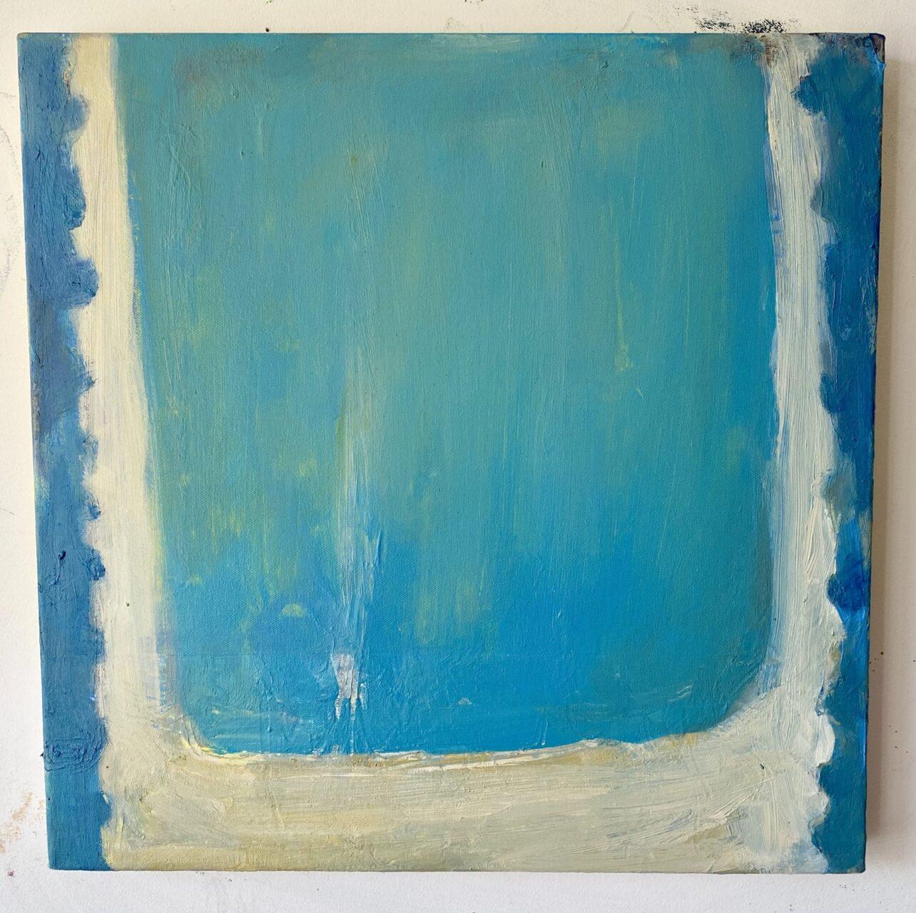 Blue bath, cold heart acrylic and oil on canvas 50x50cm