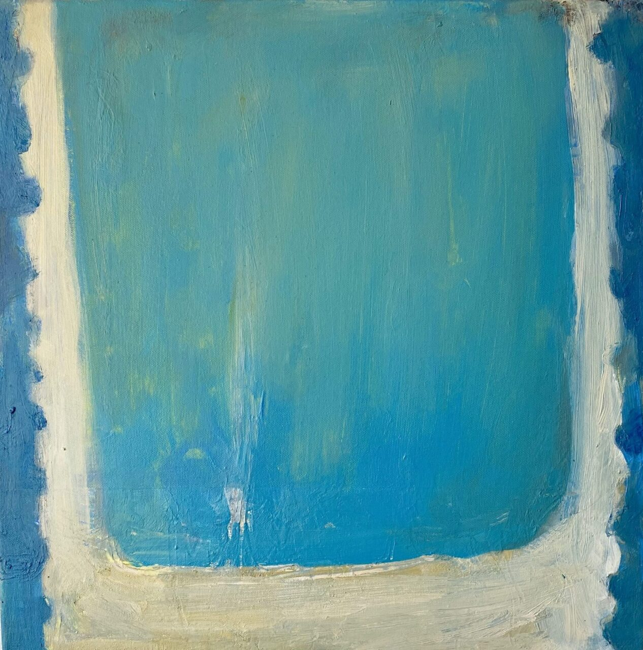 Blue bath, cold heart acrylic and oil on canvas 50x50cm