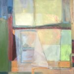 window transparency abstraction with orange, yellow and borders of green and dark blue