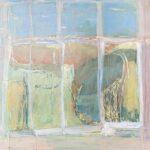 window frame, light sunny day, landscape