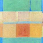 Yellow, green, orange squares on blue textured surface, transparent paint over layers
