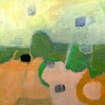 yellow green and orange abstract landscape