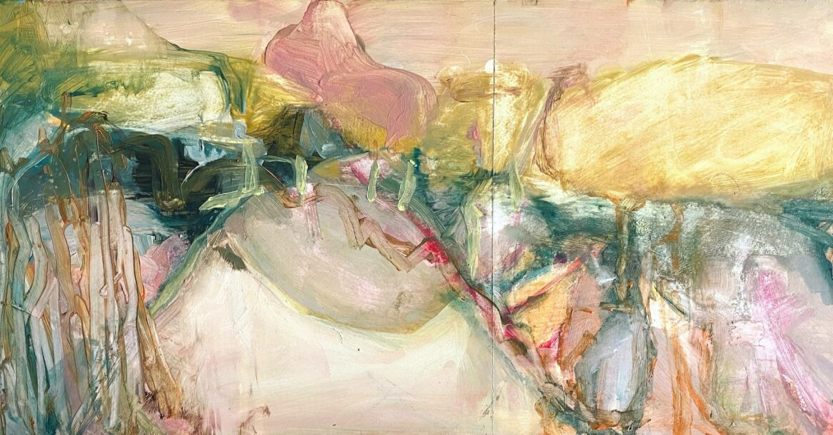abstract landscape painting in pink and neutrals, lots of mark making