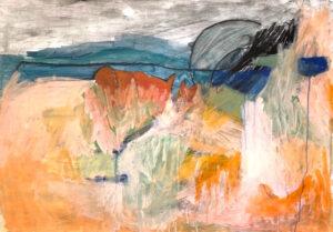 orange/green abstract landscape